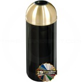 "Glaro T1241 Mount Everest Open Dome Top Trash Container - 8 Gallon Capacity - 12"" Dia. x 30"" H - Satin Brass Cover"