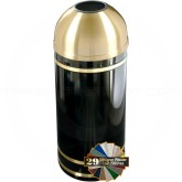 "Glaro T1255 Monte Carlo WasteMaster Open Dome Top Waste Receptacle - 8 Gallon Capacity - 12"" Dia. x 30"" H - Satin Brass Accents"
