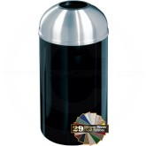 "Glaro T1530 Mount Everest Open Dome Top Trash Can - 12 Gallon Capacity - 15"" Dia. x 30"" H - Satin Aluminum Cover"