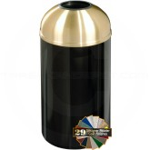 "Glaro T1540 Mount Everest Open Dome Top Garbage Can - 12 Gallon Capacity - 15"" Dia. x 30"" H - Satin Brass Cover"