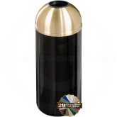 "Glaro T1541 Mount Everest Open Dome Top Garbage Bin - 16 Gallon Capacity - 15"" Dia. x 36"" H - Satin Brass Cover"