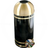 "Glaro T1555 Monte Carlo WasteMaster Open Dome Top Waste Can - 16 Gallon Capacity - 15"" Dia. x 36"" H - Satin Brass Accents"