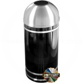 "Glaro T1556 Monte Carlo WasteMaster Open Dome Top Trash Can - 16 Gallon Capacity - 15"" Dia. x 36"" H - Satin Aluminum Accents"