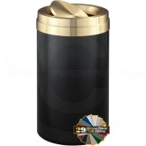 "Glaro TA1537BKBE Value Tip Action Top Waste Container  - 23 Gallon Capacity - 15"" Dia. x 30"" H - Satin Black with Satin Brass Top"