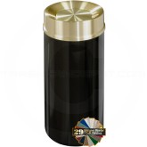 "Glaro TA1541 Mount Everest Tip Action Self Closing Trash Receptacle - 16 Gallon Capacity - 15"" Dia. x 33"" H - Satin Brass Cover"