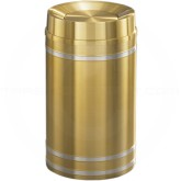 "Glaro TA2034BE Capri WasteMaster Tip Action Top Garbage Can - 33 Gallon Capacity - 20"" Dia. x 36"" H - Satin Brass with Satin Aluminum Bands"