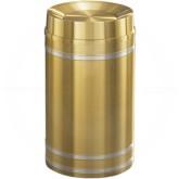 "Glaro TA2034BE Capri WasteMaster Tip Action Top Garbage Can - 33 Gallon Capacity - 20"" Dia. x 36"" H - Satin Brass with Satin Aluminum Bands"