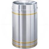 "Glaro TA2034SA Capri WasteMaster Tip Action Top Garbage Can - 33 Gallon Capacity - 20"" Dia. x 36"" H - Satin Aluminum with Satin Brass Bands"