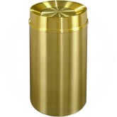 "Glaro TA2035BE Atlantis All Weather WasteMaster Tip Action Self Closing Waste Receptacle - 33 Gallon Capacity - 20"" Dia. x 35"" H - All-Weather Satin Brass"