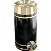 "Glaro TA2055 Monte Carlo WasteMaster Tip Action Self Closing Garbage Can - 33 Gallon Capacity - 20"" Dia. x 36"" H - Satin Brass Accents"