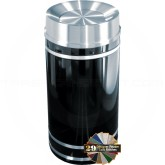 "Glaro TA2056 Monte Carlo WasteMaster Tip Action Self Closing Trash Can - 33 Gallon Capacity - 20"" Dia. x 36"" H - Satin Aluminum Accents"