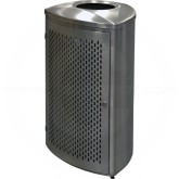 Imprezza TRO21SSPL Triangular Curved Open Top Trash Can - 21 Gallon Capacity - Satin Stainless Steel