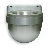 "Rubbermaid / United Receptacle FGU650SA Wall Mounted Push Button Split Well Urn - 9 1/4"" L x 9 1/2"" W x 8"" H - Satin Aluminum in Color"