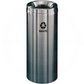 """Glaro W1232SA Recycle Pro 1 Trash Can - 12 Gallon Capacity - 12"""" Dia. x 31"""" H - Satin Aluminum"""
