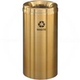 "Glaro W1532BE Recycle Pro 1 Waste Can - 16 Gallon Capacity - 15"" Dia. x 31"" H - Satin Brass"