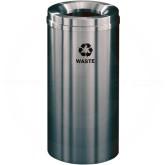 """Glaro W1532SA Recycle Pro 1 Waste Can - 16 Gallon Capacity - 15"""" Dia. x 31"""" H - Satin Aluminum"""