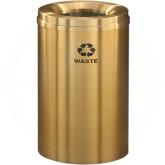 "Glaro W2032BE Recycle Pro 1 Trash Can - 33 Gallon Capacity - 20"" Dia. x 31"" H - Satin Brass"