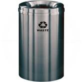 """Glaro W2032SA Recycle Pro 1 Trash Can - 33 Gallon Capacity - 20"""" Dia. x 31"""" H - Satin Aluminum"""