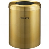 "Glaro W2042BE RecyclePro Single Unit Recycling Container with Large Round Opening - 41 Gallon Capacity - 20"" Dia. x 30"" H - Satin Brass"