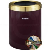 "Glaro W2042BYBE RecyclePro Single Unit Recycling Container with Large Round Opening - 41 Gallon Capacity - 20"" Dia. x 30"" H - Burgundy with Satin Brass Top"
