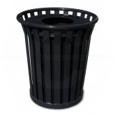 "Witt Industries Wydman Collection Round Slatted Metal Trash Can with Flat Top - 24 Gallon Capacity - 25 1/2"" Dia. x 25 1/2"" H - Black in Color"