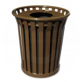 "Witt Industries Wydman Collection Round Slatted Metal Trash Can with Flat Top - 24 Gallon Capacity - 25 1/2"" Dia. x 25 1/2"" H - Brown in Color"