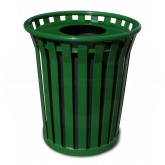 "Witt Industries Wydman Collection Round Slatted Metal Trash Can with Flat Top - 24 Gallon Capacity - 25 1/2"" Dia. x 25 1/2"" H - Green in Color"