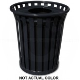 "Witt Industries WC2400-FT-SLV Wydman Collection Round Slatted Metal Trash Can with Flat Top - 24 Gallon Capacity - 25 1/2"" Dia. x 29 1/2"" H - Silver in Color"