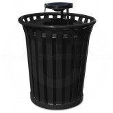 "Witt Industries Wydman Collection Round Slatted Metal Trash Can with Ash Urn Top - 36 Gallon Capacity - 28 1/2"" Dia. x 39 3/4"" H - Black in Color"