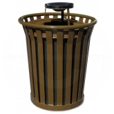 "Witt Industries Wydman Collection Round Slatted Metal Trash Can with Ash Urn Top - 36 Gallon Capacity - 28 1/2"" Dia. x 39 3/4"" H - Brown in Color"
