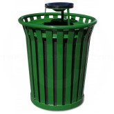 "Witt Industries Wydman Collection Round Slatted Metal Trash Can with Ash Urn Top - 36 Gallon Capacity - 28 1/2"" Dia. x 39 3/4"" H - Green in Color"