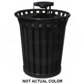 "Industries WC3600-AT-SLV Wydman Collection Round Slatted Metal Trash Can with Ash Urn Top - 36 Gallon Capacity - 28 1/2"" Dia. x 39 3/4"" H - Silver in Color"