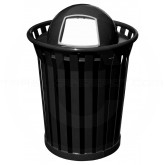 "Witt Industries Wydman Collection Round Slatted Metal Trash Can with Dome Top - 36 Gallon Capacity - 28 1/2"" Dia. x 41"" H - Black in Color"