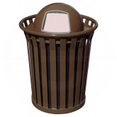 "Witt Industries Wydman Collection Round Slatted Metal Trash Can with Dome Top - 36 Gallon Capacity - 28 1/2"" Dia. x 41"" H - Brown in Color"