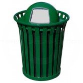 "Witt Industries Wydman Collection Round Slatted Metal Trash Can with Dome Top - 36 Gallon Capacity - 28 1/2"" Dia. x 41"" H - Green in Color"