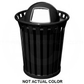 "Witt Industries WC3600-DT-SLV Wydman Collection Round Slatted Metal Trash Can with Dome Top - 36 Gallon Capacity - 28 1/2"" Dia. x 41"" H - Silver in Color"