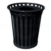 "Witt Industries Wydman Collection Round Slatted Metal Trash Can with Flat Top - 36 Gallon Capacity - 28 1/2"" Dia. x 31 1/2"" H - Black in Color"