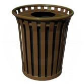 "Witt Industries Wydman Collection Round Slatted Metal Trash Can with Flat Top - 36 Gallon Capacity - 28 1/2"" Dia. x 31 1/2"" H - Brown in Color"
