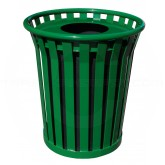"Witt Industries Wydman Collection Round Slatted Metal Trash Can with Flat Top - 36 Gallon Capacity - 28 1/2"" Dia. x 31 1/2"" H - Green in Color"