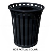 "Witt Industries WC3600-FT-SLV Wydman Collection Round Slatted Metal Trash Can with Flat Top - 36 Gallon Capacity - 28 1/2"" Dia. x 31 1/2"" H - Silver in Color"