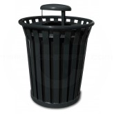 "Witt Industries Wydman Collection Round Slatted Metal Trash Can with Rain Cap Top - 36 Gallon Capacity - 28 1/2"" Dia. x 39 3/4"" H - Black in Color"