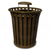 "Witt Industries Wydman Collection Round Slatted Metal Trash Can with Rain Cap Top - 36 Gallon Capacity - 28 1/2"" Dia. x 39 3/4"" H - Brown in Color"