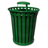 "Witt Industries Wydman Collection Round Slatted Metal Trash Can with Rain Cap Top - 36 Gallon Capacity - 28 1/2"" Dia. x 39 3/4"" H - Green in Color"