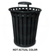 "Witt Industries WC3600-RC-SLV Wydman Collection Round Slatted Metal Trash Can with Rain Cap Top - 36 Gallon Capacity - 28 1/2"" Dia. x 39 3/4"" H - Silver in Color"