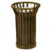 "Witt Industries WC2000-BN Wydman Collection Round Slatted Metal Ash Urn - 24 Gallon Capacity - 17"" Dia. x 26"" H - Brown in Color"