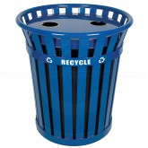 "Witt Industries WCR36-FTR Wydman Collection Recycling Container with Flat Top Lid - 36 Gallon Capacity - 28 1/2"" Dia. x 31 1/2"" H - Blue in Color"