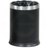 "Rubbermaid / United Receptacle WHB14EBK Hide-A-Bag Wastebasket - 3.5 Gallon Capacity - 9 1/2"" Dia. x 12 1/2"" H - Black with Stainless Steel Trim"