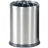 "Rubbermaid / United Receptacle WHB14SS Hide-A-Bag Wastebasket - 3.5 Gallon Capacity - 9 1/2"" Dia. x 12 1/2"" H - Stainless Steel"